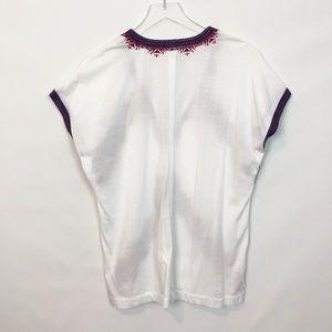 J. Crew Tops - J.Crew White Cotton Embroidered Tunic Small